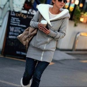 Casual Double Zip Thigh Length Sweat Jacket New